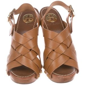 Tory Burch Jodie Wooden Block Leather Sandals